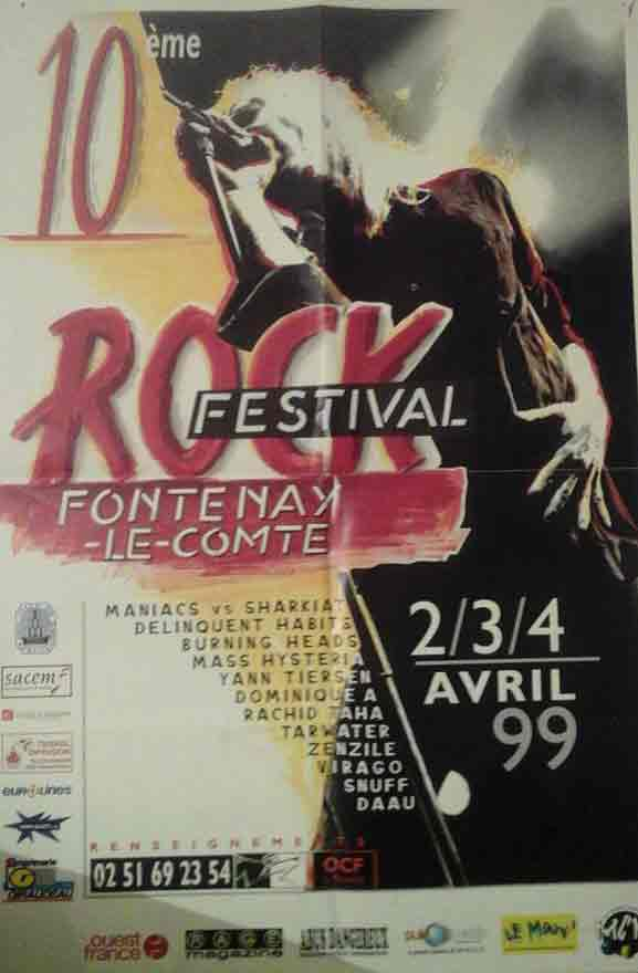 "2 avril 1999 Burning Heads, SNUFF,  Mass Hysteria,  Virago, DJ Dee Kool à Fontenay les Comte ""Salle Grande Prairie"""