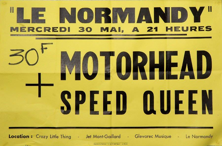 "30 mai 1979 Motorhead, Speed Queen à Le Havre ""le Normandy"""