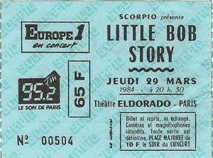 """29 mars 1984 Little Bob Story à Paris """"Eldorado"""""""