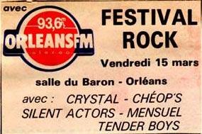 "15 mars 1985 Crystal, Cheop's, Silent Actors, Mensuel, Tender Boys à Orléans ""Salle Du Baron"""