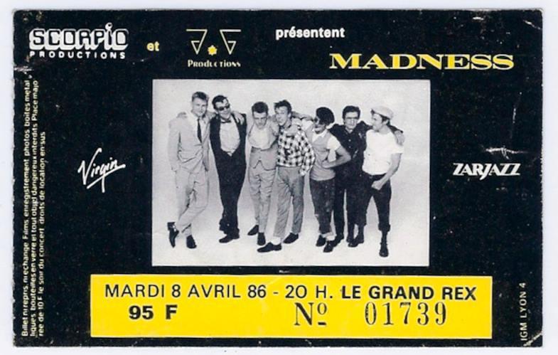 """8 avril 1986 Madness à Paris """"le Grand Rex"""""""