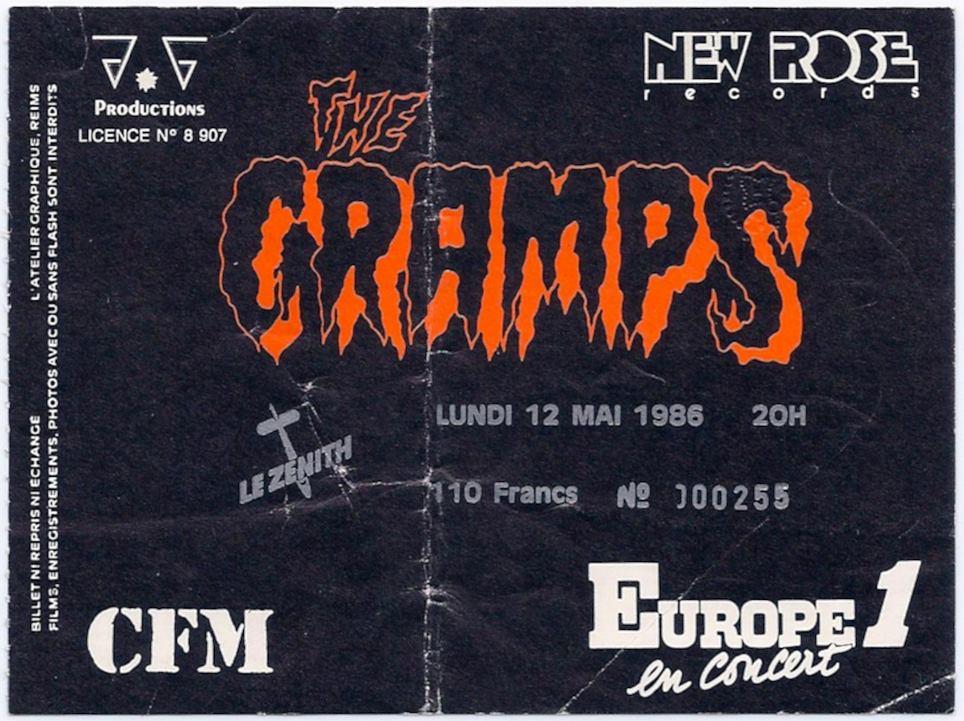 """12 mai 1986 The Cramps à Paris """"le Zenith"""""""