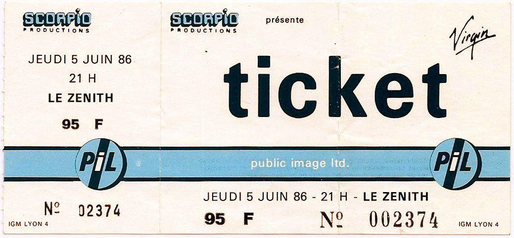 """5 juin 1986 Public Image Limited à Paris """"le Zenith"""""""