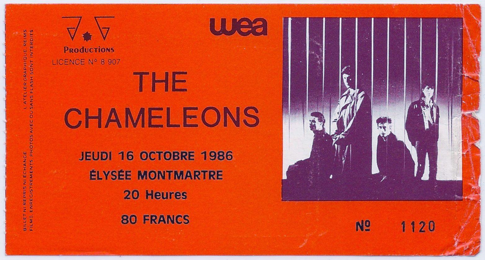 """16 octobre 1986 The Chameleons à Paris """"Elysée Montmartre"""""""