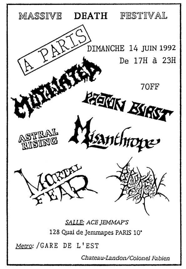 "14 juin 92 Broken Fear, Mutilated, Misanthrope, Proton Burst, Astral Rising, Mortal Fear à Paris ""Ace Jemmap's"""