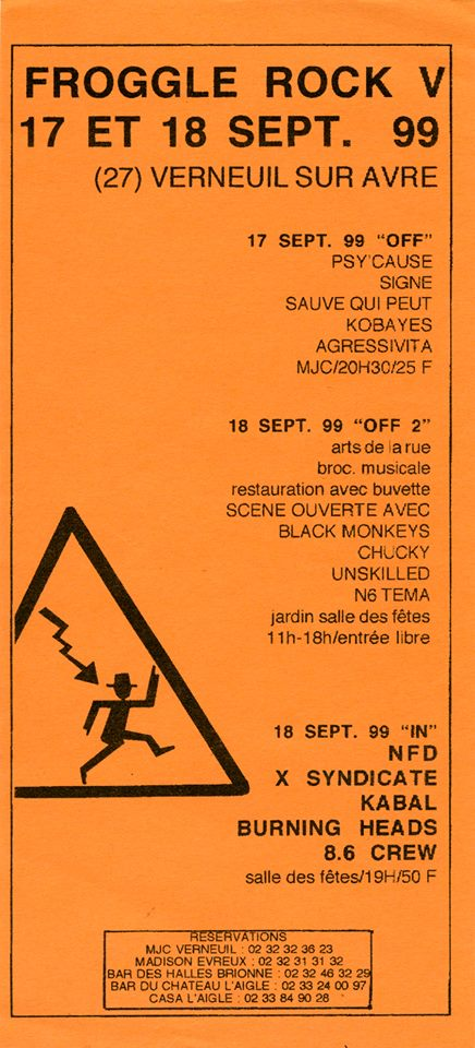 "18 septembre 1999 NFD, X Syndicate, Kabal, Burning Heads, 8.6 Crew à Verneuil Sur Arve ""MJC"""