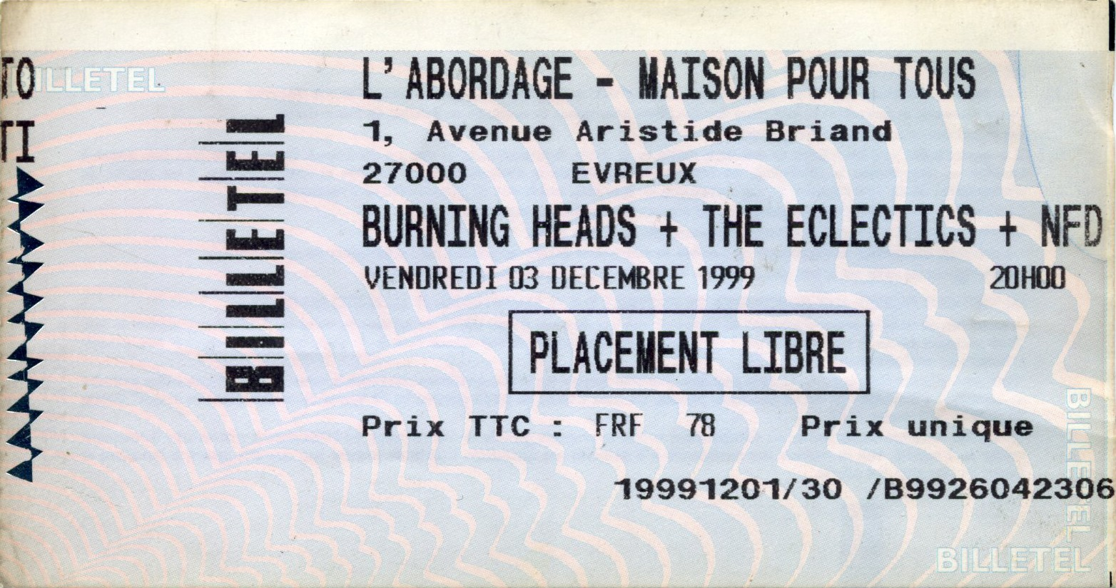 "3 décembre 1999 Burning Heads, the Eclectics, NFD à Evreux ""l'Abordage"""