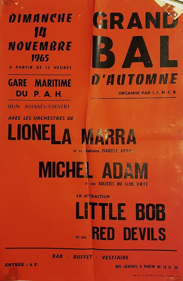 """14 novembre 1965 Lionela Marra, Michel Adam, Littlle Bob et Ses Red Devils au Havre """"Gare Maritime du Port Autonome"""""""