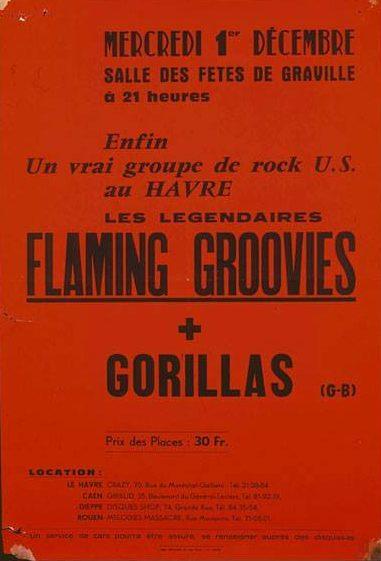 """1er décembre 1976 Gorillas, Flaming Groovies au Havre """"Salle des Fetes de Graville"""""""