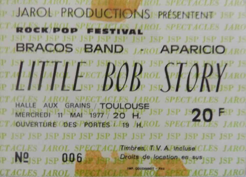 """11 mai 1977 Bracos Band, Aparicio, Little Bob Story à Toulouse """"Halle Aux Grains"""""""