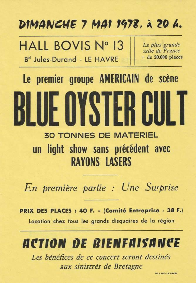 "7 mai 1978 Blue Oyster Cult au Havre ""Hall Bovis"""