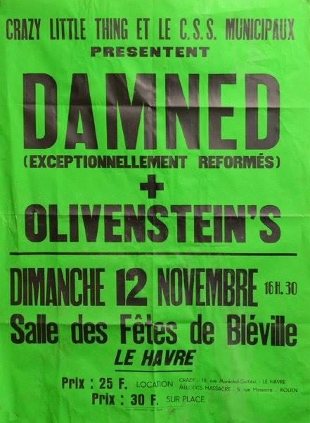 """12 novembre 1978 Damned, Olivenstein au Havre """"Salle des Fetes de Bleville"""""""