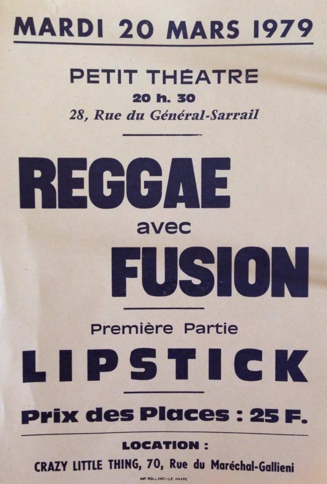 "20 mars 1979 Fusion, Lipstick au Havre ""Petit Theatre"""