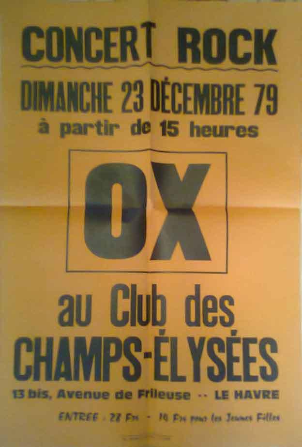 """23 décembre 1979 Ox au Havre """"Club des Champs Elysée"""""""
