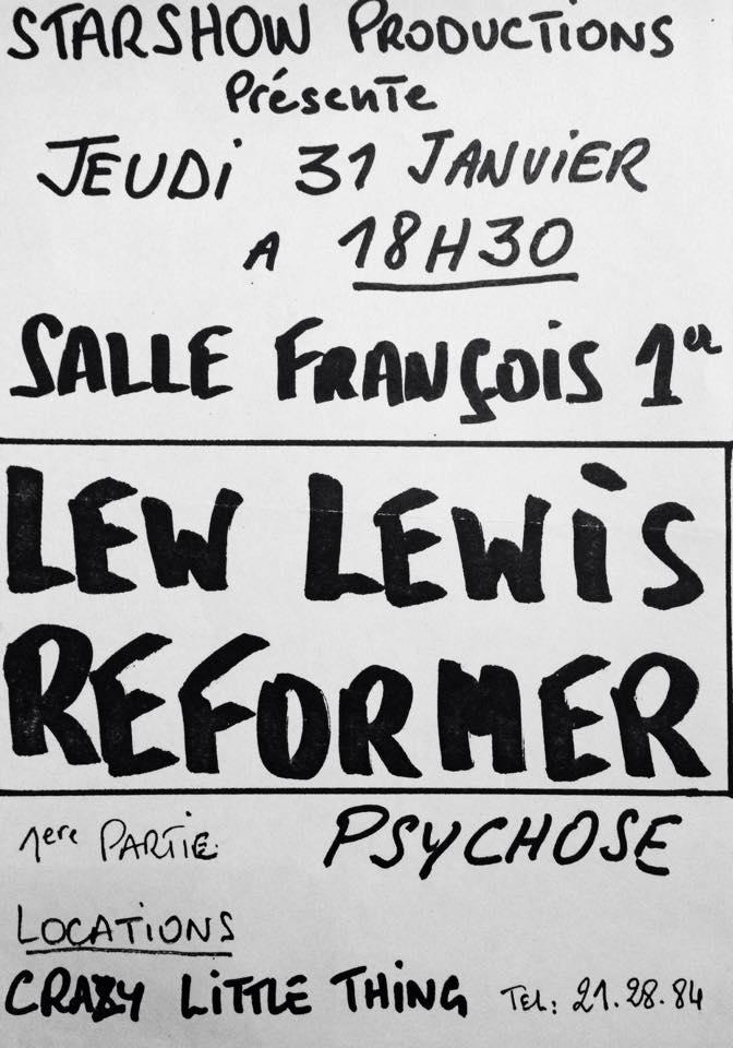 """31 janvier 1980 Lew Lewis Reformer, Psychose au Havre """"Salle François 1er"""""""