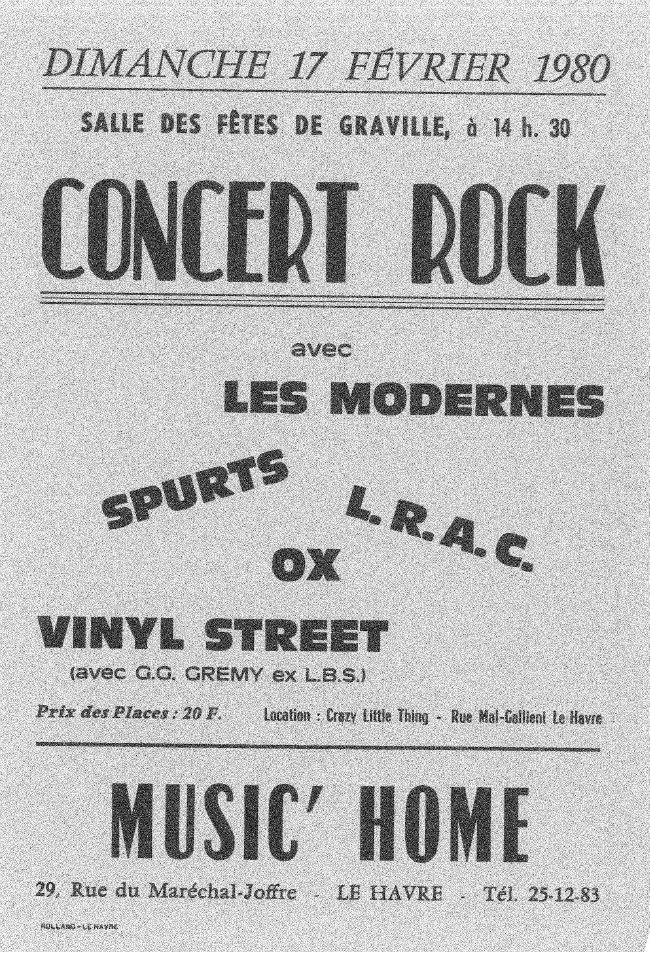 """17 février 1980 Les Modernes, Spurts, LRAC, Ox, Vinyl Street au Havre """"Salle des Fetes de Graville"""""""