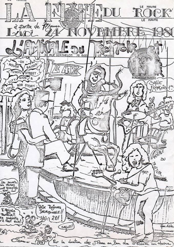 "24 novembre 1980 Little Bob Story, City Kids, Vinyl Street, Rouge Baiser, Ox au Havre ""Salle François 1er"""