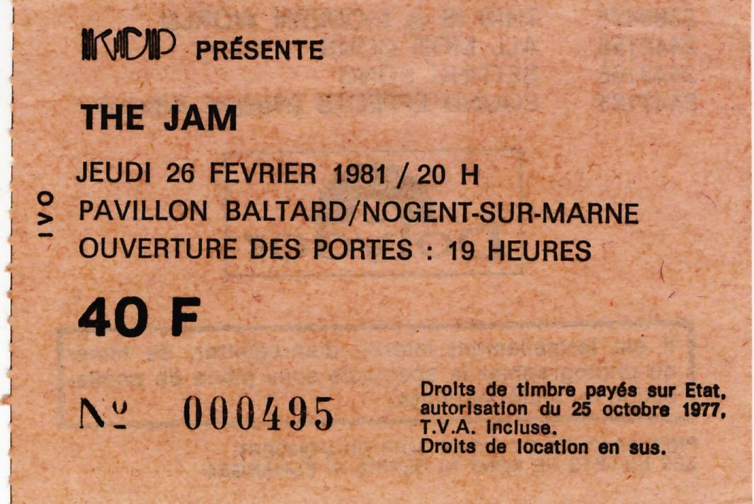 """26 février 1981 The Jam à Nogent Sur Marne """"Pavillon Baltard"""""""