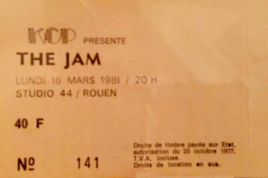 "16 mars 1981 The Jam, The Sound à Petit Quevilly ""Studio 44"""