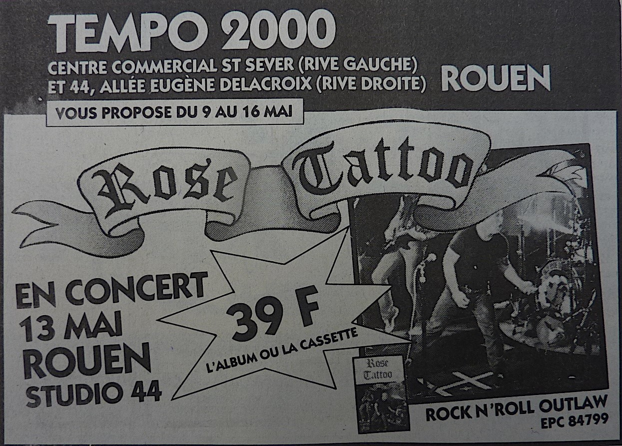 "13 mai 1981 Rose Tattoo à Petit Quevilly ""Studio 44"""