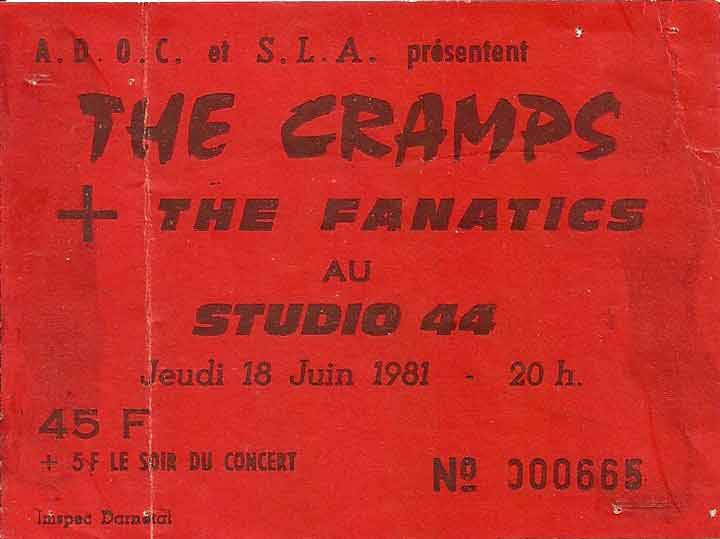 "18 juin 1981 The Cramps, The Fanatics à Petit Quevilly ""Studio 44"""