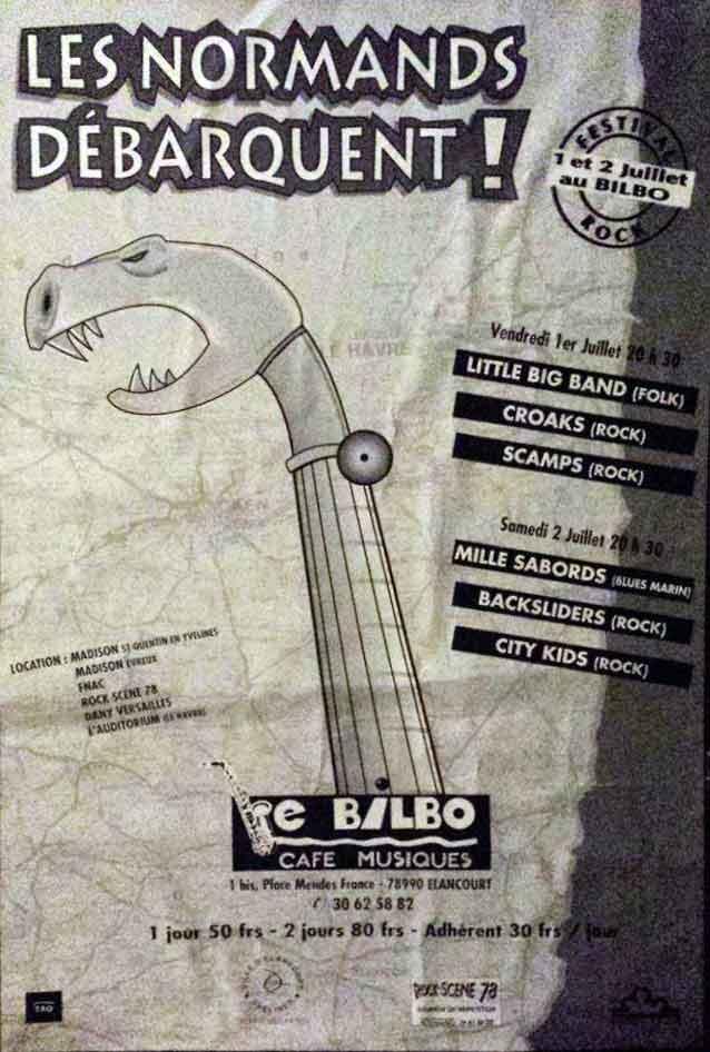 """1er juillet 1988 Little Big Band, Croaks, Scamps à Elancourt """"le Bilbo"""""""