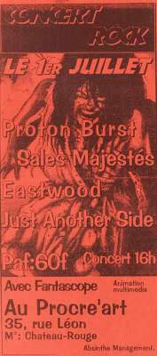 """1er juillet 1995 Proton Burst, Sales Majestés, Eastwood, Just Another Side à Paris """"Au Procre'art"""""""