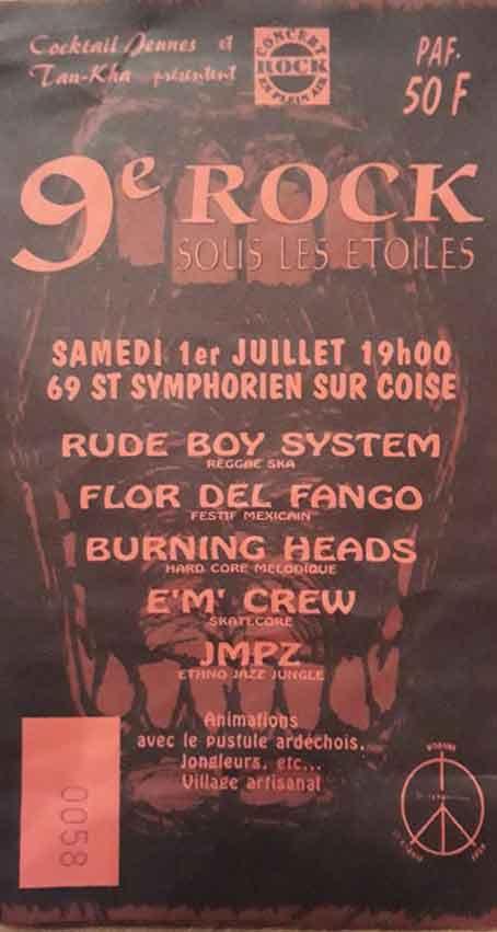1er juillet 2000 Rude Boy System, Flor Del Fango, Burning Heads, EM Crew, JMPZ, Pustule l'Ardechois à Saint Symphorien Sur Coise