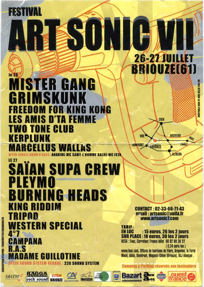 26 juillet 2002 Mister Gang, Grinmkunk, Freedom For King Kong, Les Amis d'ta Femme, Two Tone Club, Kerplunk, Marcellus Wallas à Briouze