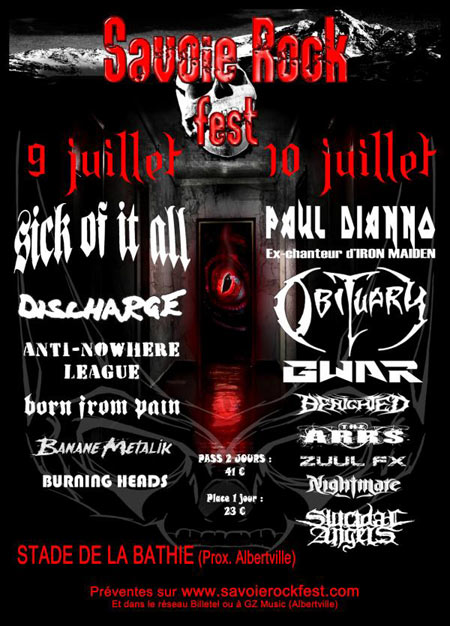 "10 juillet 2010 Paul Dianno, Obituary, Gwar, Berighed, The Arrs, Zuul Fx, Nightmare, Suicidal Angels à la Bathie ""Stade"""