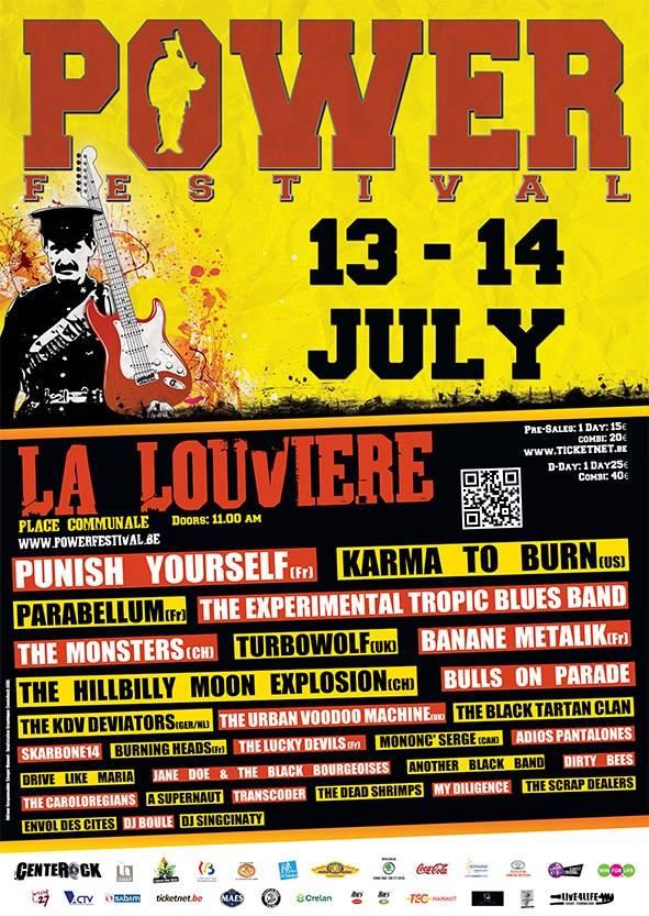 "14 juillet 2013 Punish Yourself, Parabellum, Banane Metalik, Skarbone14, Burning Heads, Mononc' Serge à La Louviere ""Place Communale"""