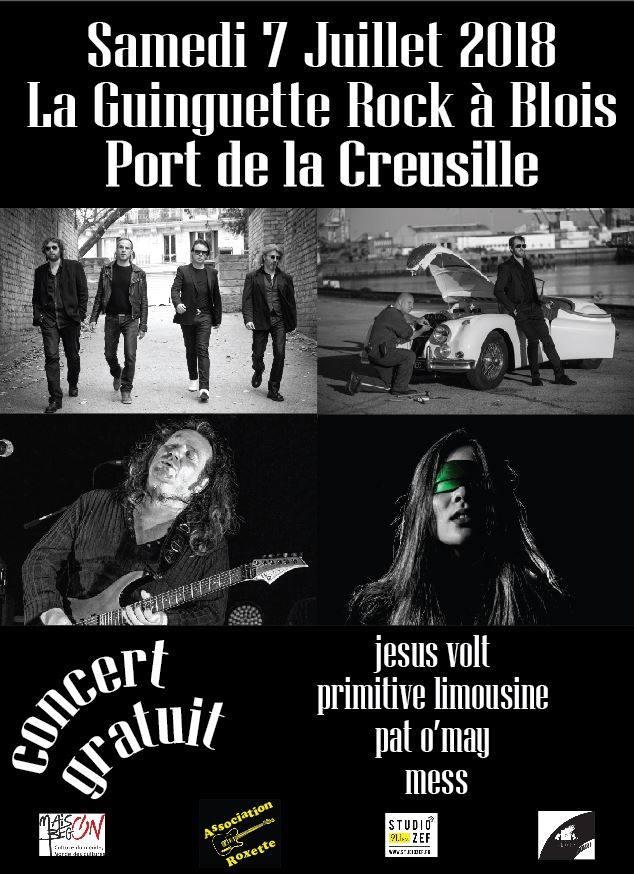 """7 juillet 2018 Jesus Volt, Primitive Limousine, Pat O'may, Mess à Blois """"Guinguette du port de la Creusille"""""""