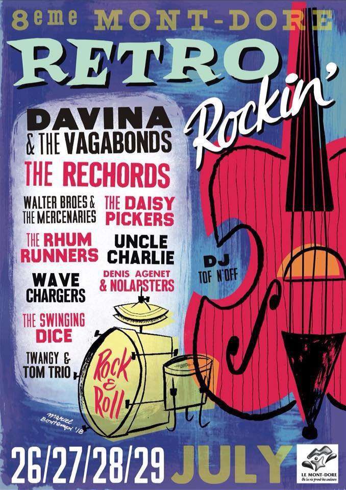 26 juillet 2018 Davina et les Vagabonds, The Rechords, Walter Broes & the Mercenaries, The Daisy Pickers, The Rhum Runners, Uncle Charlie, Wave Chargers, Denis Agenet & the Nolapsters, The Swinging Dice, The Twangy & Tom Trio au Mont Dore
