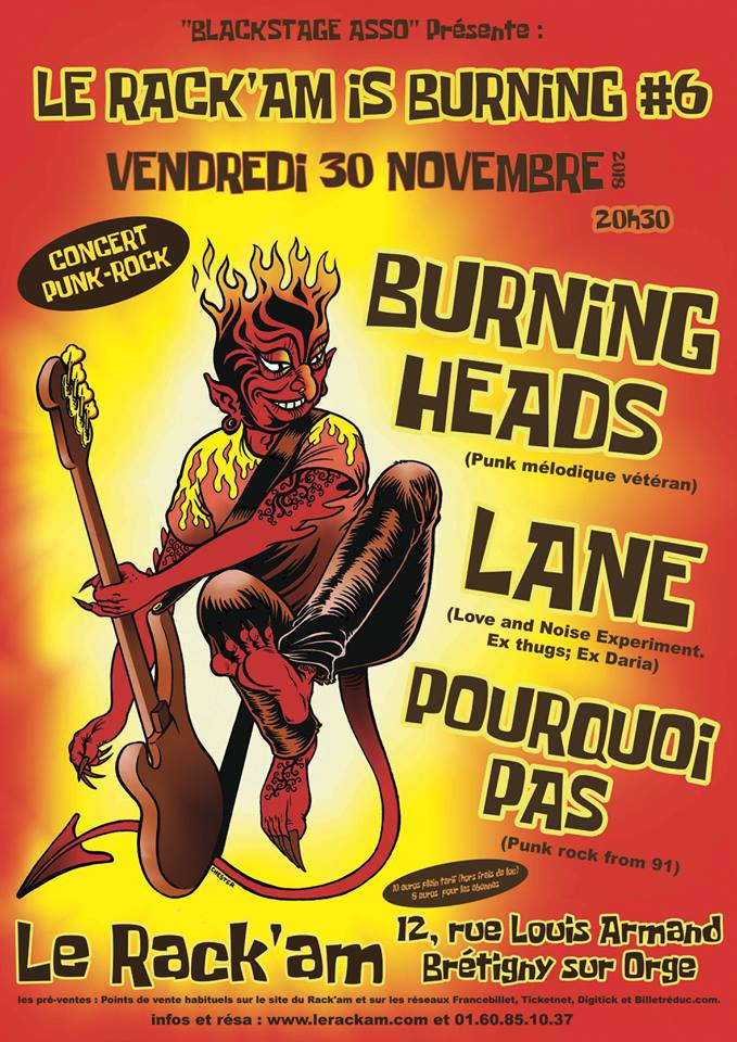 "30 novembre 2018 Burning Heads, Lane, Pourquoi Pas à Bretigny Sur Orge ""le Rack'am"""
