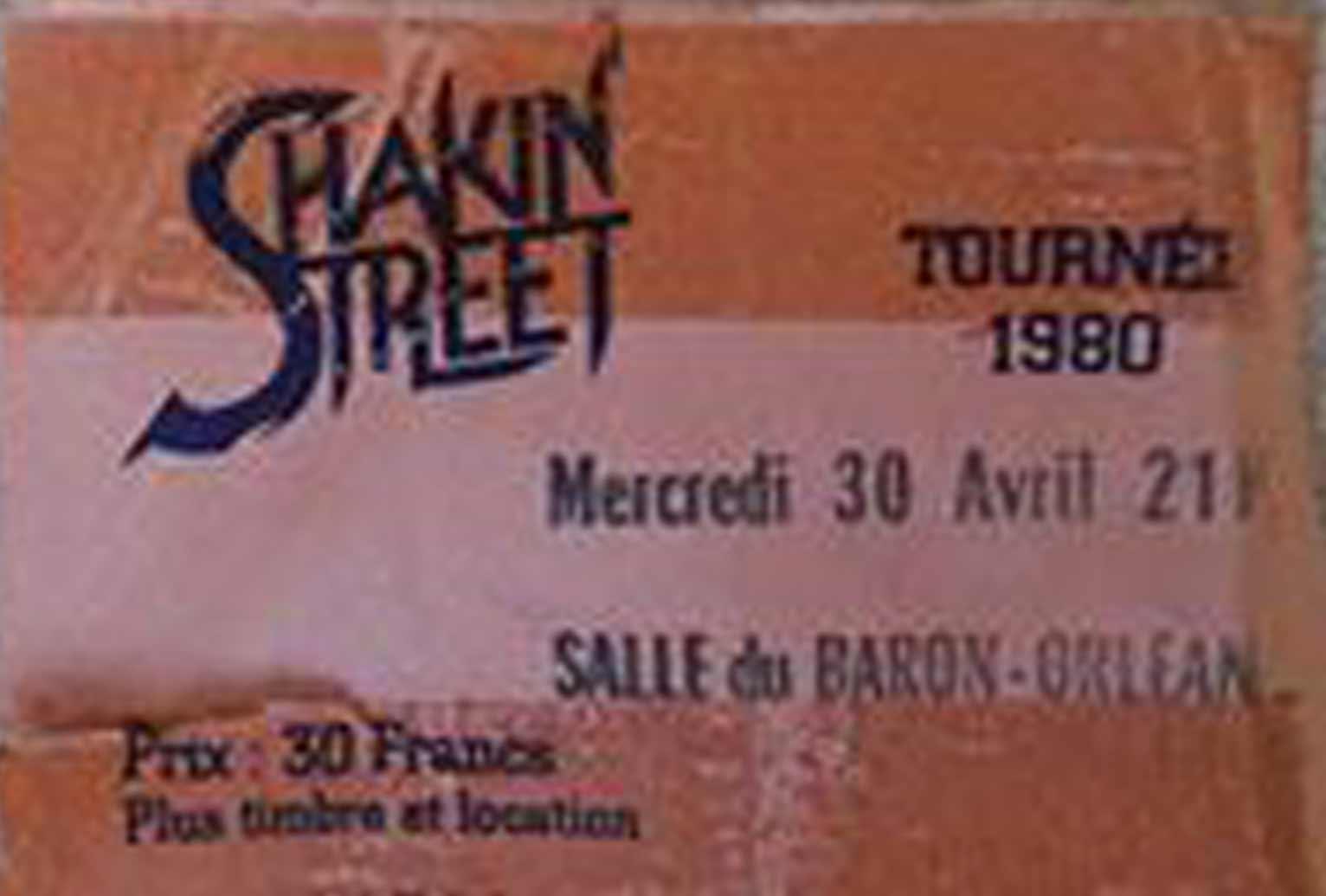"30 avril 1980 Shakin Street à Orléans ""Salle du Baron"""