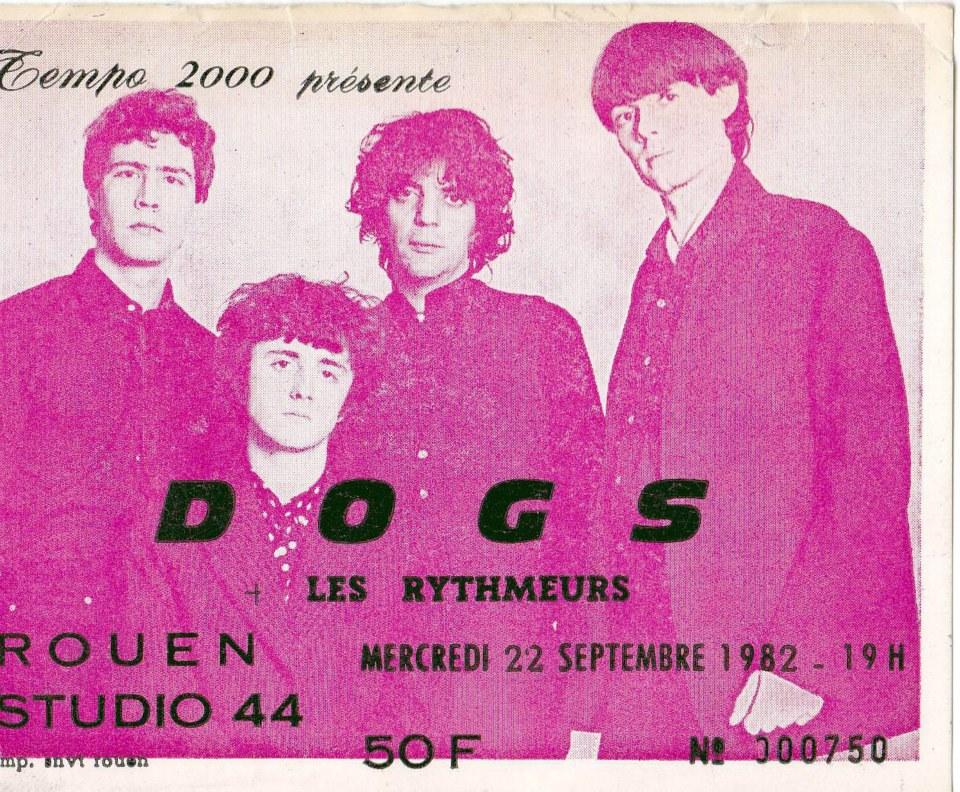 """22 septembre 1982 Les Dogs, Les Rythmeurs  à Petit Quevilly """"Studio 44"""""""