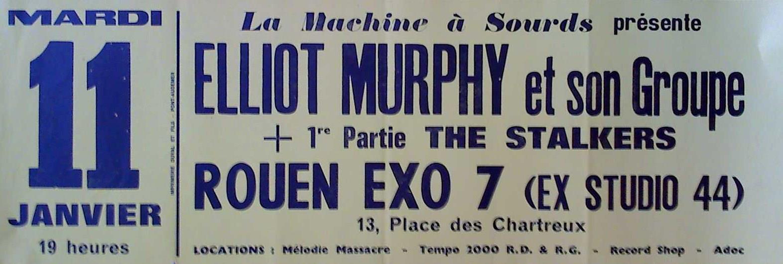 """11 janvier 1983 Elliot Murphy, The Stalkers à Petit Quevilly """"Exo 7"""""""