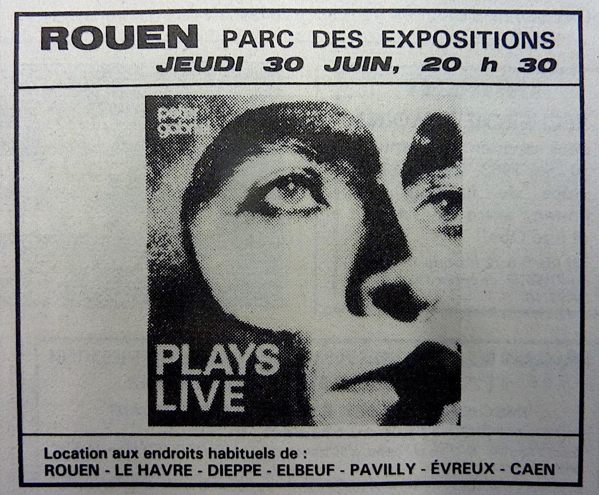 """30 juin 1983 Peter Gabriel à Rouen """"Parc des Expositions"""""""