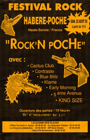 22 aout 1992 Cactus Club, Contraste, Blue Blitz, Klame, Early Morning, 5eme Avenue, King Size à Habere Poche