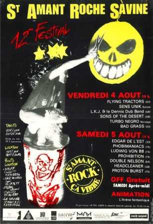 5 aout 1995 Edgar de l'Est, Phobimaniacs, Ludwig Von 88, Prohibition, Double Nelson, Headcleaner, Proton Burst à Saint Amand Roche Savine