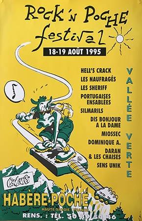 18 et 19 aout 1995 Hell's Crack, les Naufragés, Les Sheriff, Portugaises Ensablées, Silmarils, Dis Bonjour à la Dame, Miossec, Dominique A, Daran & les Chaises, Sens Unik à Habere Poche