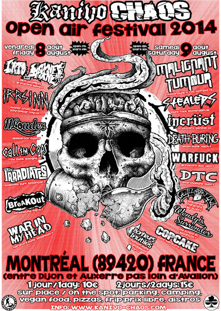 8 aout 2014 War In My Head, Breakout, 11 Louder, The Irradiates, Call The Cops, Into Sickness, Incrust, Poison Idea (Annulé) à Montreal