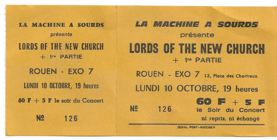 "10 octobre 1983 The Lords Of The New Church à Rouen ""Exo 7"""