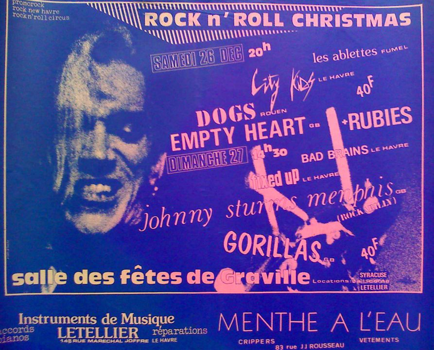 "27 décembre 1981 Gorillas, Johnny Sturns Memphis, Fixed Up, Bad Brains au Havre ""Salle des Fetes de Graville"""