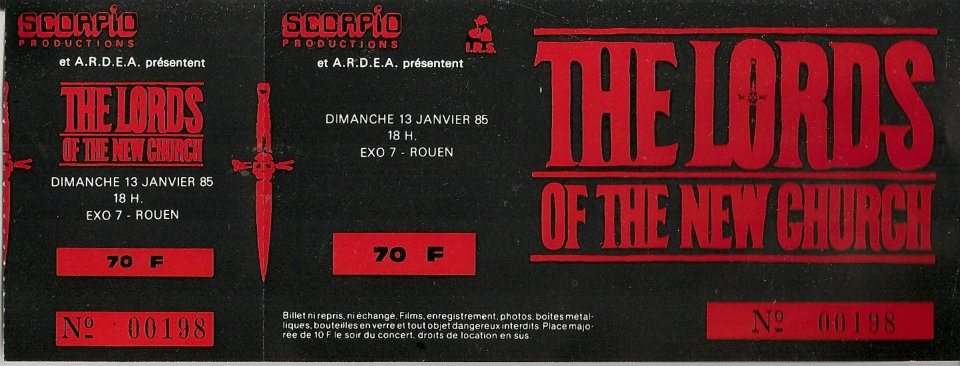 "13 janvier 1985 The Lords Of The New Church, Spy Corridor à Petit Quevilly ""Exo 7"""
