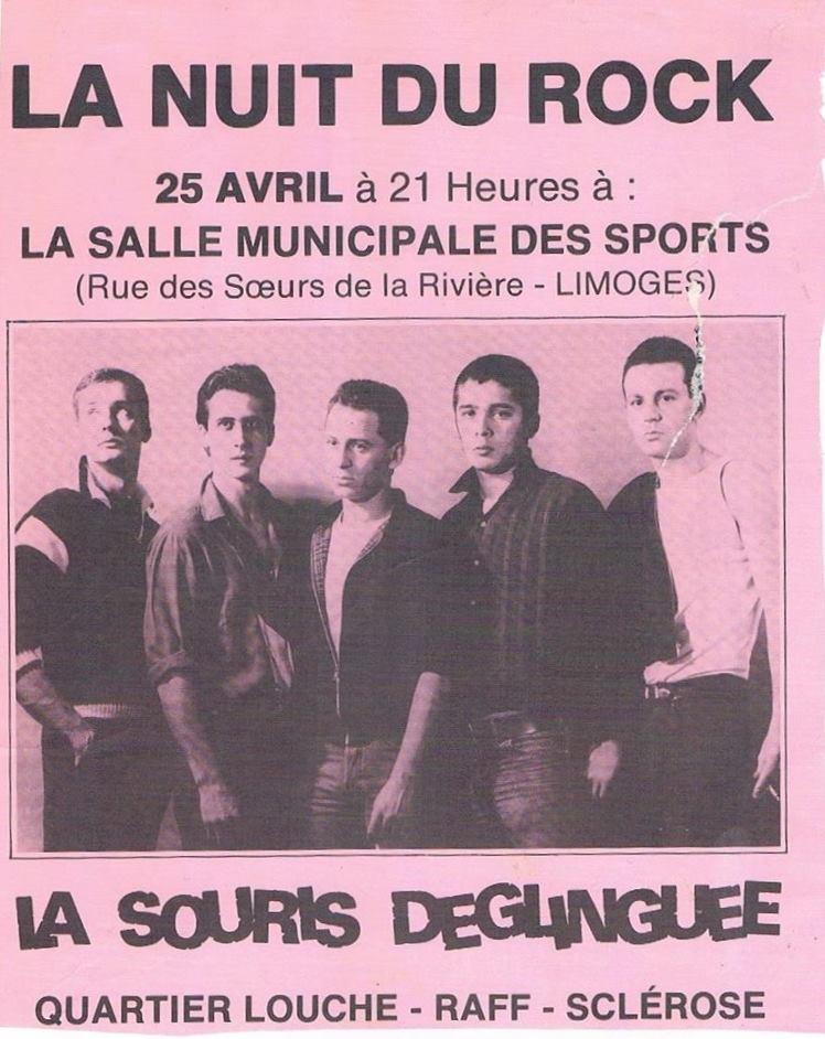 """25 avril 1985 La Souris Déglinguée, Quartier Louche, Raff, Sclerose à Limoges """"Salle Municipale des Sports"""""""