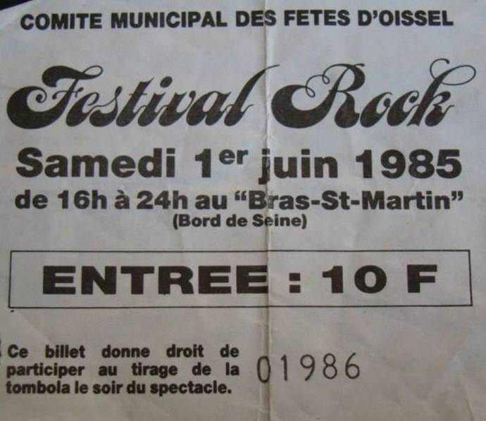 "1er juin 1985 Allan Woody, les Dogs, Hiatus, Marienthal, Tweed, Vermines à Oissel ""Bras Saint Martin"""