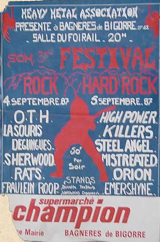 """4 septembre 1987 OTH, La Souris Deglinguée, Sherwood, Rats, Fraulein Roop à Bagneres de Bigorre """"Salle du Foirail"""""""