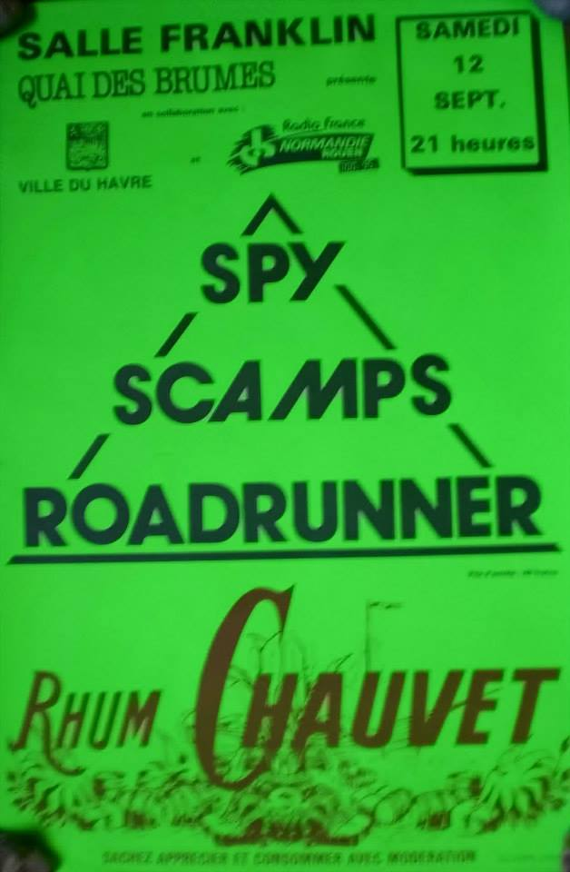 """12 septembre 1987 Spy, Scamps, Roadrunners au Havre """"Salle Franklyn"""""""