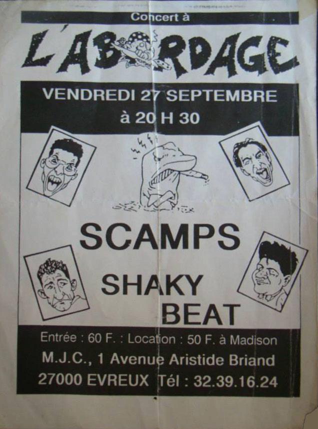 """27 septembre 1991 Scamps, Shaky Beat à Evreux """"l'Abordage"""""""